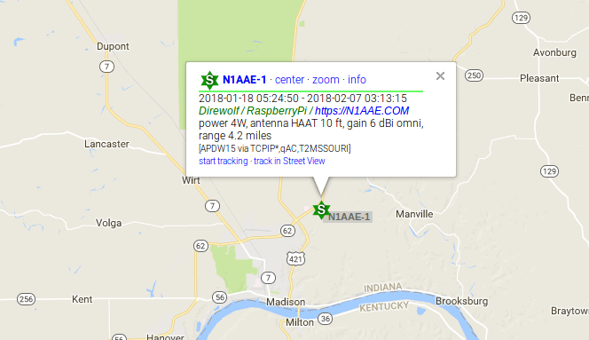 APRS map view of station